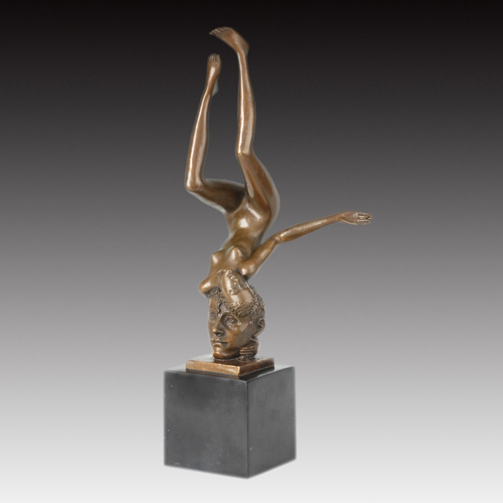 Artwork Western A maiden on the head Bronze Sculpture Sexy Nude Girl Statue Figurines Christmas Gifts