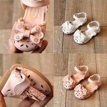 Детская летняя обувь; обувь для новорожденных девочек с мягкой подошвой; Милые дышащие тапочки с бантом и кружевом; сандалии; От 3 до 8 лет