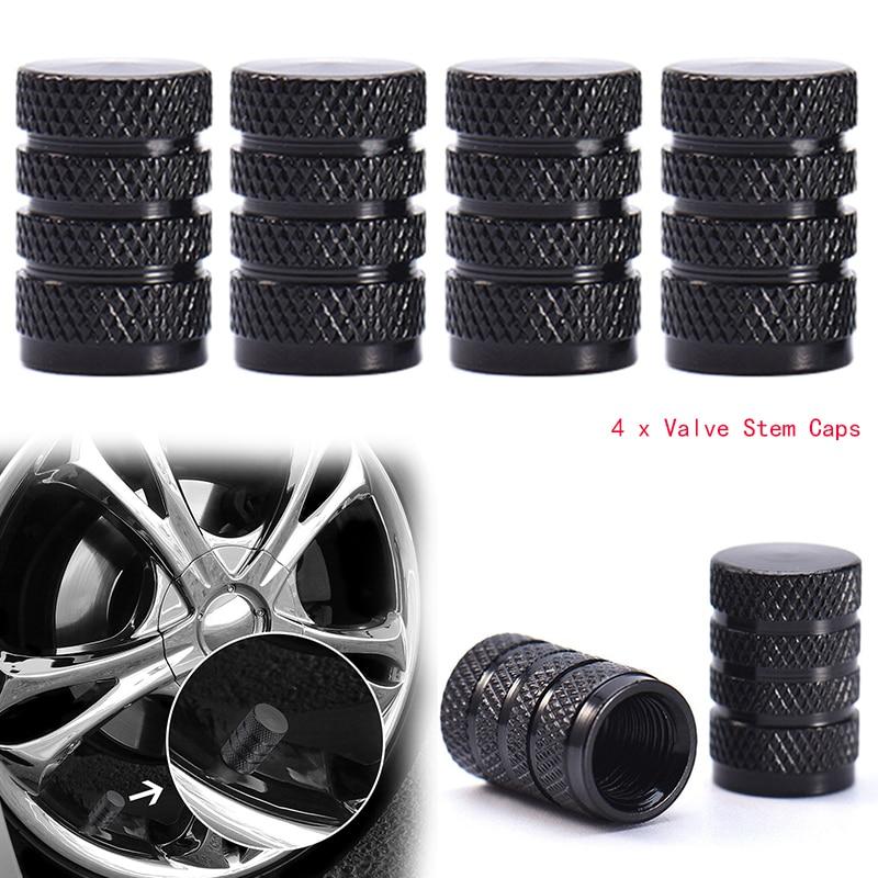 4PCs Black Durable Aluminium Alloy Dust Cover Wheel Tire Tyre Rim Valve Stem Caps Replacement For Car Truck Auto Parts