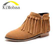 Kimobaa Women Ankle Boots Ethnic Genuine Leather Women Shoes Fringe Fashion Boots Tassel Two Color Zip Hot Sale Size 43 TX75