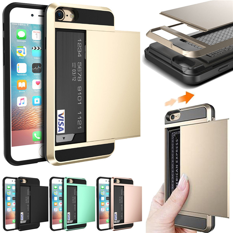 Luxury Slider Card Holder Wallet Phone Case For iphone 7 6S 6 S 8 Plus Hybrid Tough Shockproof Armor Cover for iphone X 5 5S SE