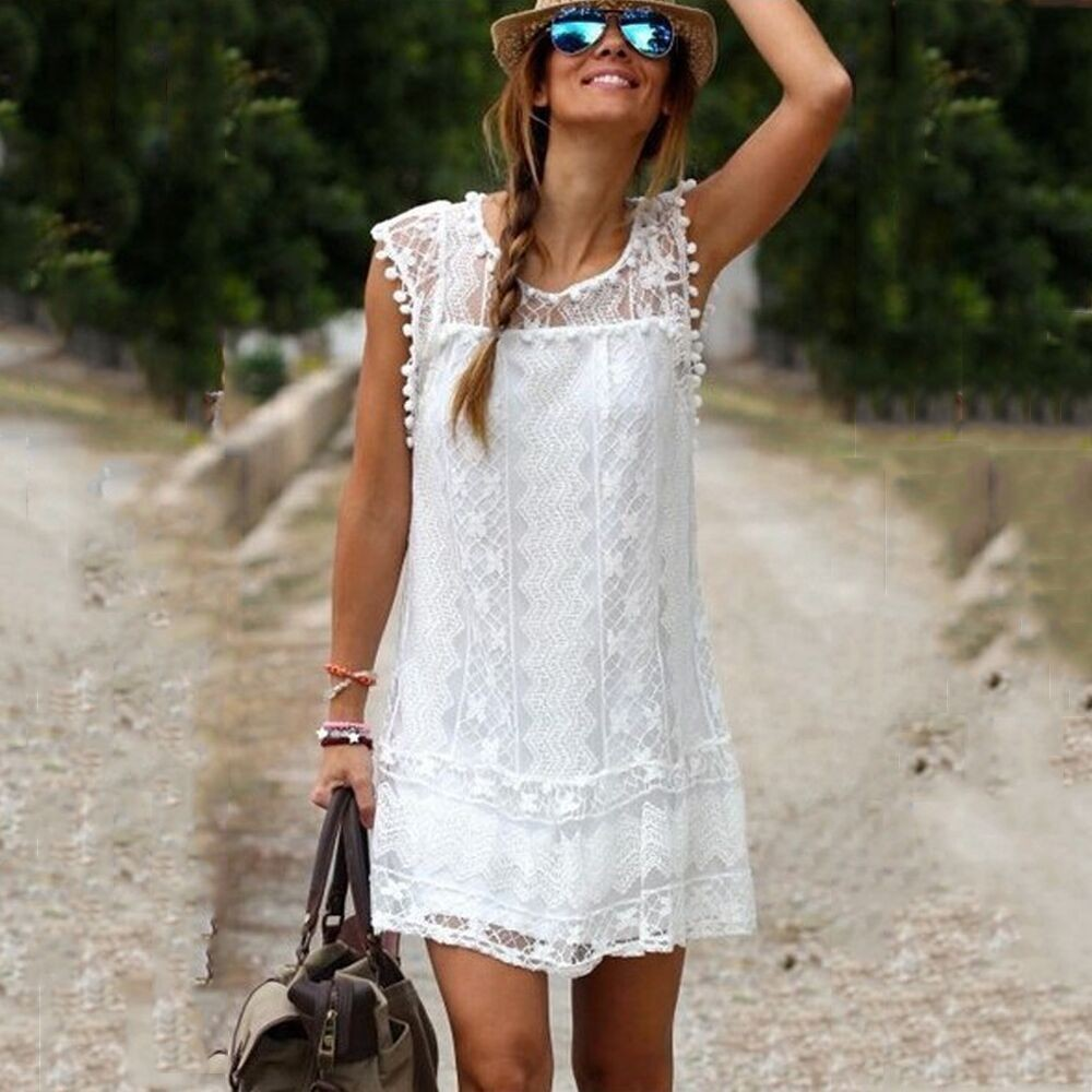 SEEDRULIA 2018 Summer Sexy Lace Dress Summe Women Elegant Fit and Flare White Party T-shirt Dresses plus size dresses s-5xl 1