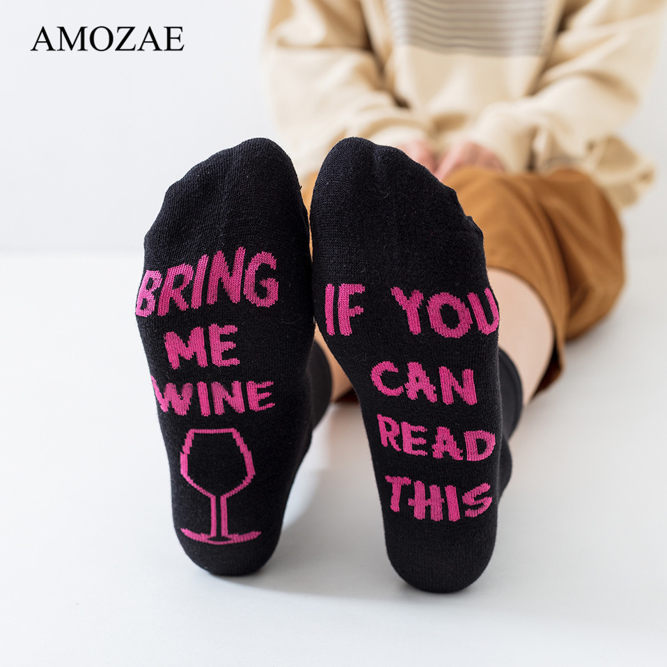 Amoza us $2.66 29% off|comfortable socks chaussette socquette funny wine socks  amozae wine sock gift for wine lovers christmas valentines day gift idea-in