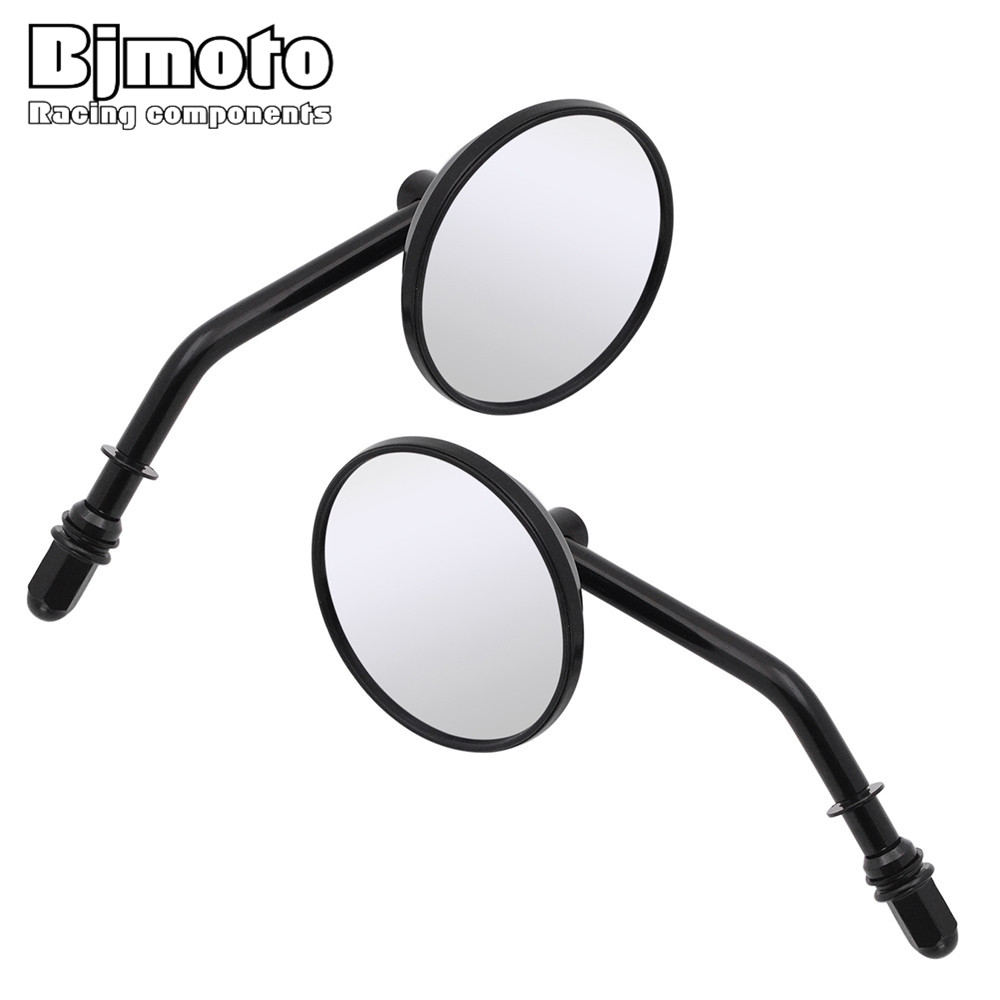 BJMOTO Black Round Rearview Mirror For Harley Sportster 883 1200 Iron 883 Softail Dyna Fatboy Motorcycle Rear View Mirrors