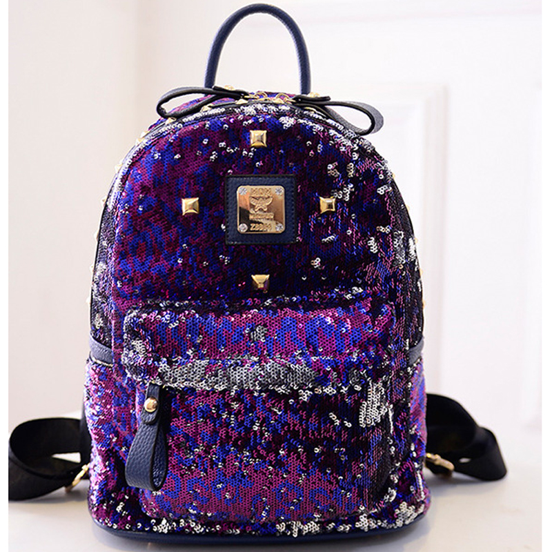 цена на PU+Sequins Backpack Women School Bags Princess Bling Backpack Bag All-match Small Travel Sequins Backpack Women Silver Backpack