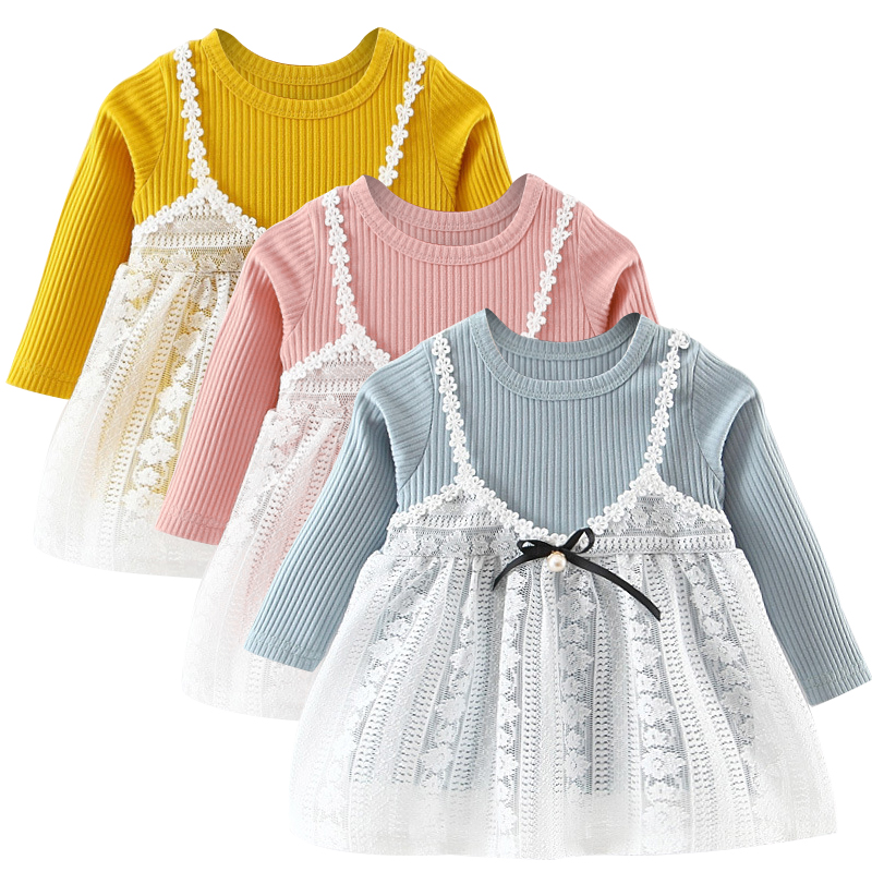 Baby Patches Cute Dresses 2017 New Baby Girls Clothes Lace Bow tie Mini A-Line Baby Princess Dress Cute Cotton Kids Clothing