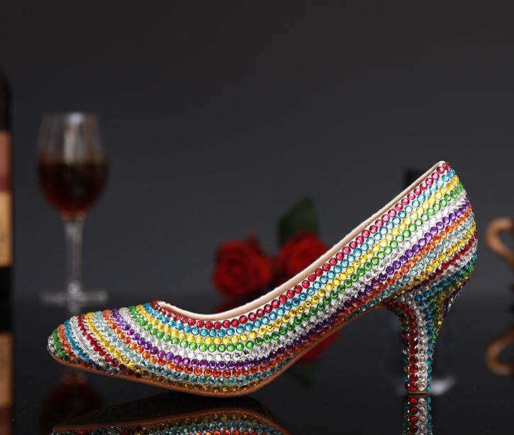 New design rainbow rhinestones wedding party pumps shoes TG349 point toes med heels proms dress evening party shoe