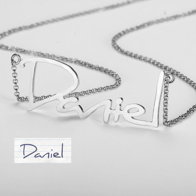 Unique Personalised 925 Sterling Silver Handwritten Necklace