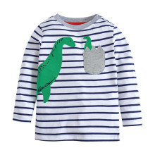 Applique two cute dinosaurs baby boys cartoon t shirts kids new striped long sleeves autumn clothes hot selling t shirt for boys two tone cream long sleeves high low t shirt