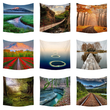 Boniu Scenery Polyester Fabric Wall Hanging Tapestry Beautiful Natural Forest Islands Farmhouse Decoration Travel Camping Rug