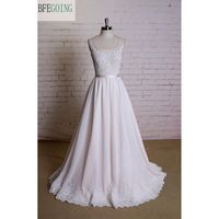 Ivory Chiffon Appliques Lace Sleeveless A Line Wedding Dress Sweep Brush Train Scoop Real Original Photos