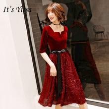 Its YiiYa Party Gowns Shining Velour Hem Tie Bow Formal Dresses Half Sleeve Zipper Wine Red Elegant Little Prom E109