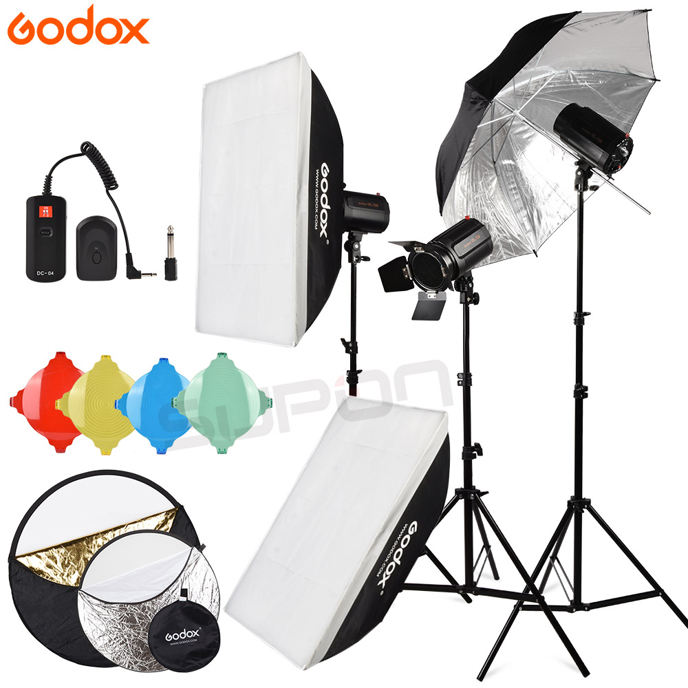Godox Strobe Studio Flash Light Kit 120DI 3*120Ws Photographic Lighting Strobes Light Stands Triggers Soft Box Reflector