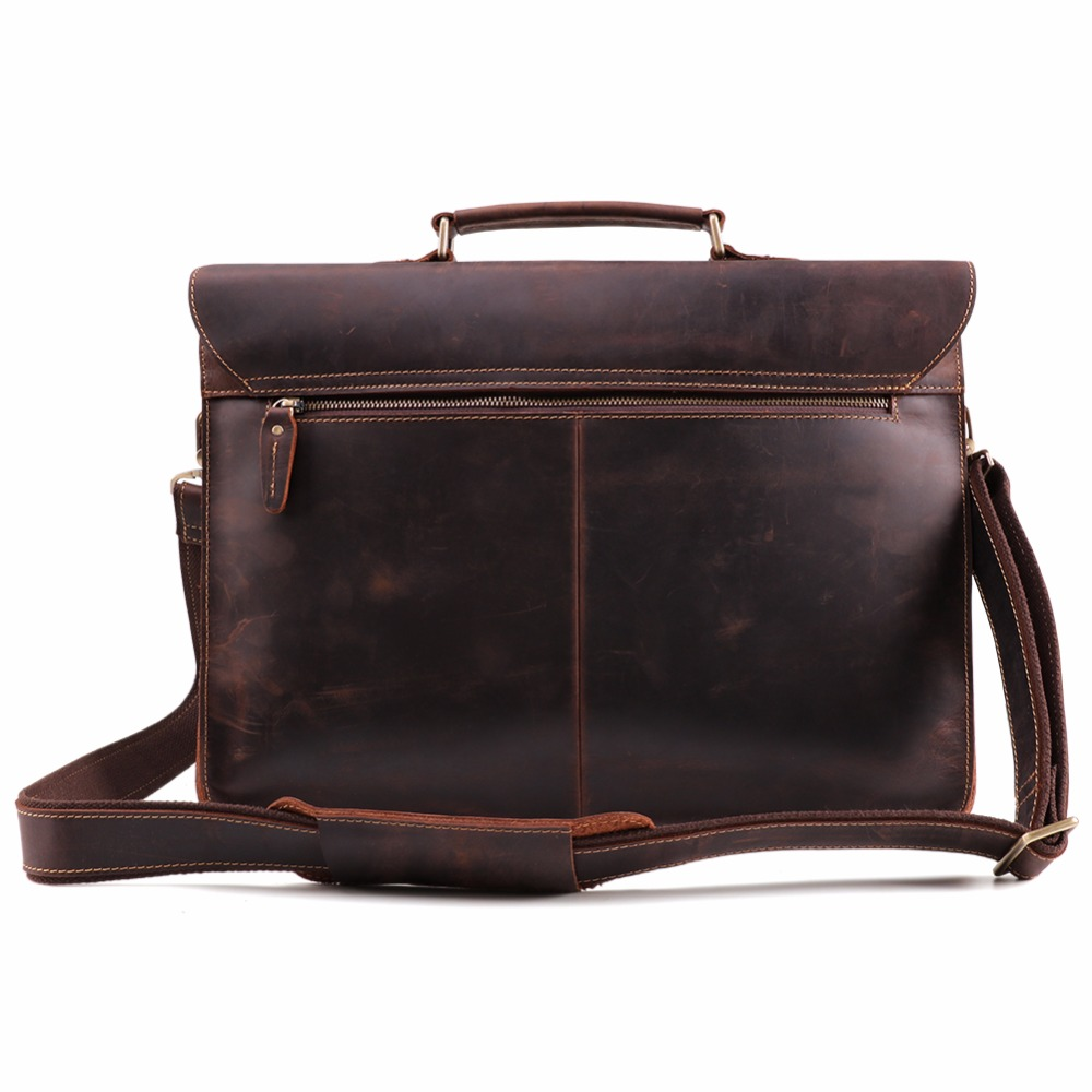 2019 Briefcase Vintage Crazy Horse Genuine Leather Bag Men Briefcases Male Shoulder Laptop Bag For Male Office Handbags Totes