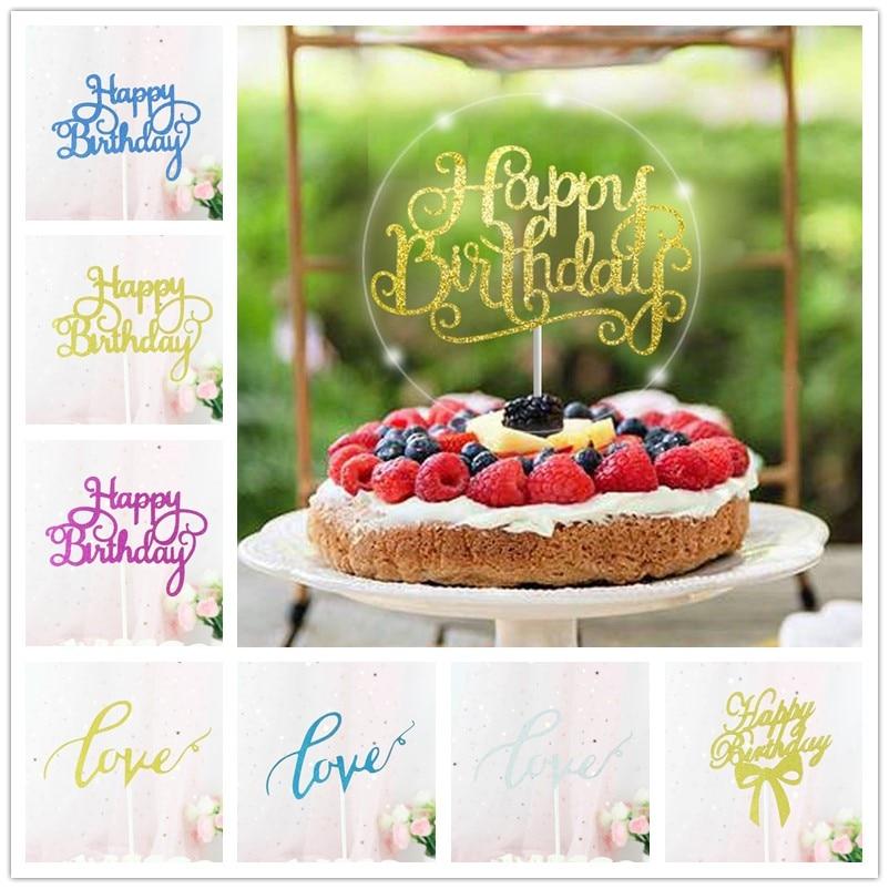 1 St Gold Glitter Gelukkige Verjaardag Cake Topper Cupcake Papier Toppers Eenhoorn Partij Eerste Verjaardag Bakken Decoraties Kids Jongen