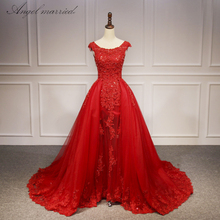 Angel Married vestido de noiva 2018 Princess A Line Church Wedding Dress Red Lace Beaded Bride Dresses Gown with Train Plus Size