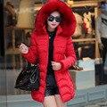 Mulheres parka inverno 2015 de forma magro das mulheres para baixo casaco de algodão gola de pele capuz plus size mulheres casacos de inverno e casacos DX630