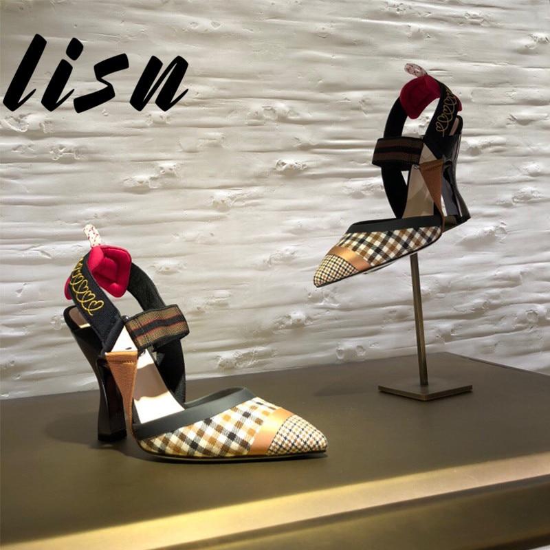 Heel Pompes Printemps Bande Low Lisn Souliers high Chaussures Pointu Élastique À Femmes Hauts Heel D'été Talons Bout Sexy Plaid Nouveau Pwzqnw0T8