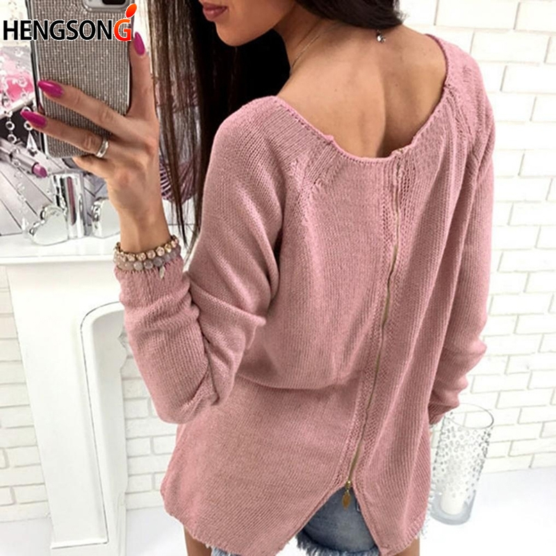 Fashion Sweater women Zipper Back Female Casual Tops Autumn Women Sweater Knitted Pullover Long Sleeve O Neck Jumper
