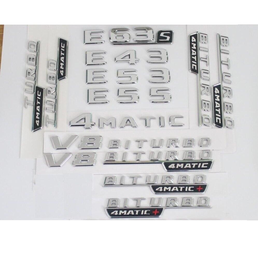 Chrom Hinten Stamm Kotflügel Buchstaben Anzahl Abzeichen Abzeichen Emblem Embleme für Mercedes Benz E43 E63 E55 E63s AMG V8 BITURBO 4 MATIC