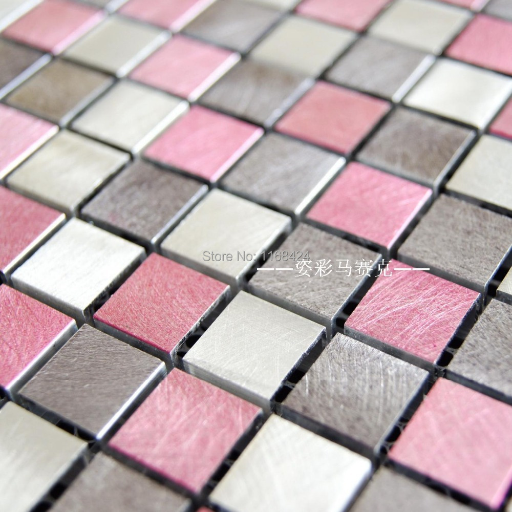 pink aluminum alloy metal mosaic tiles ehm1062 for kitchen. Black Bedroom Furniture Sets. Home Design Ideas