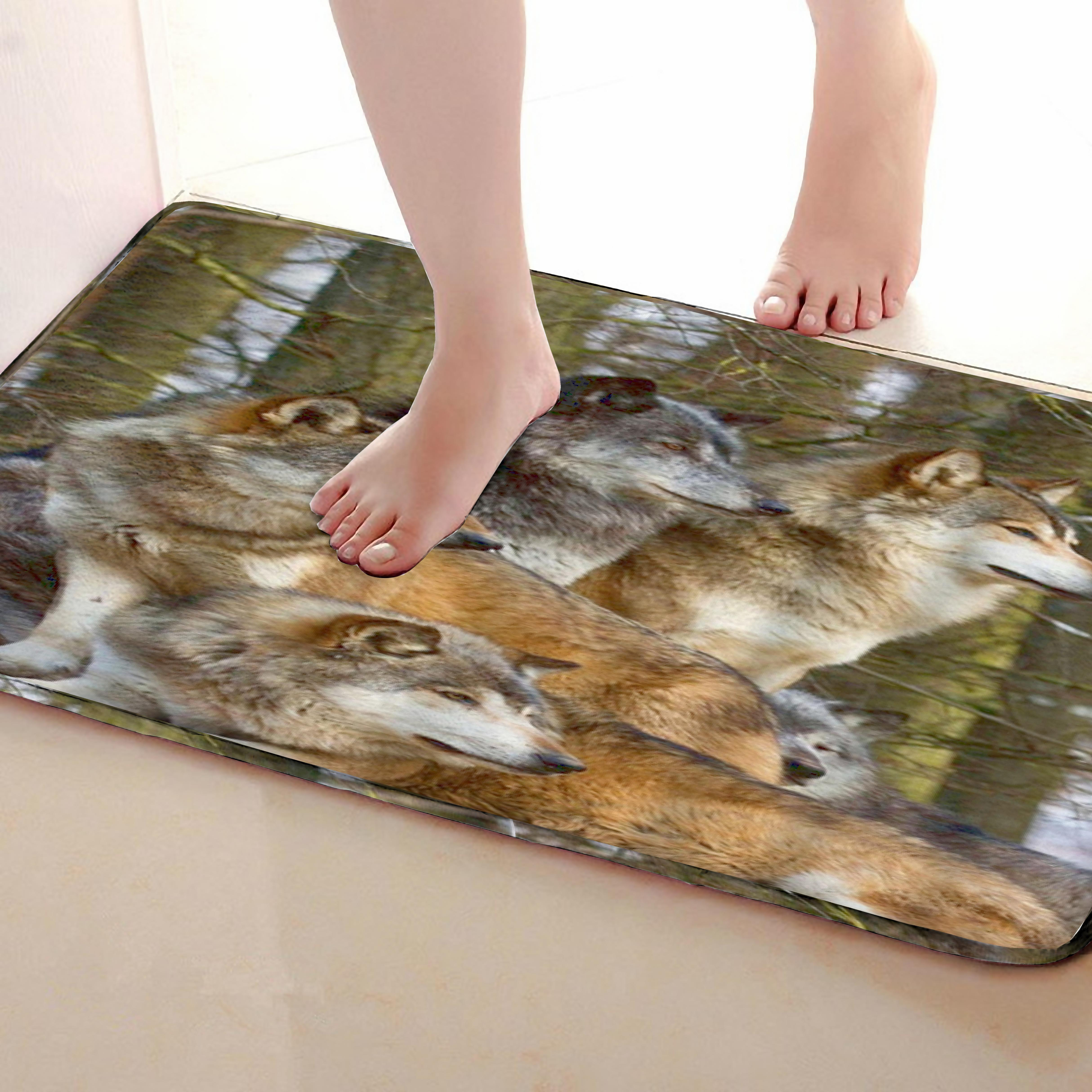 Wolf Style Bathroom Mat,Funny Anti skid Bath Mat,Shower Curtains Accessories,Matching Your Shower Curtain