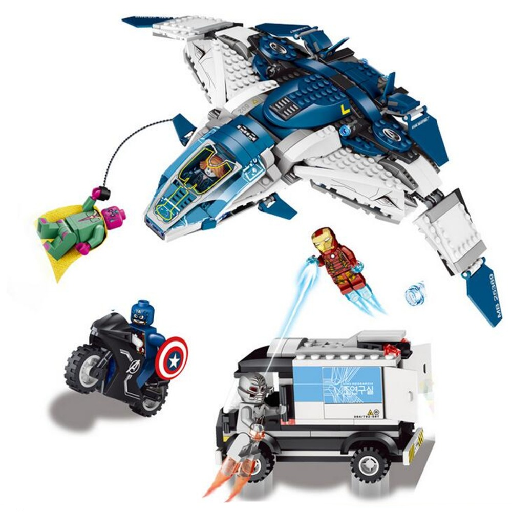 Avengers Super Heroes Building Blocks The Quinjet <font><b>City</b></font> <font><b>Chase</b></font> Lron Man Minifigure Toys Toys For Children Marvel Super Heroes