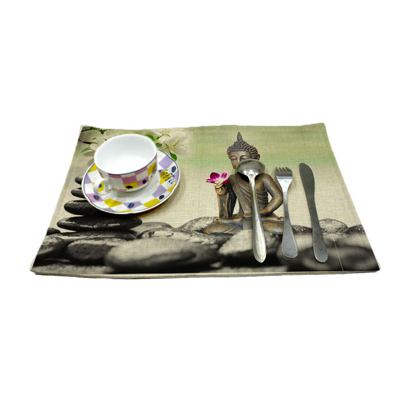 zen and stone pattern print linen placemat coasters disc pads bowl pad pot dining table mat coster heat insulation pad