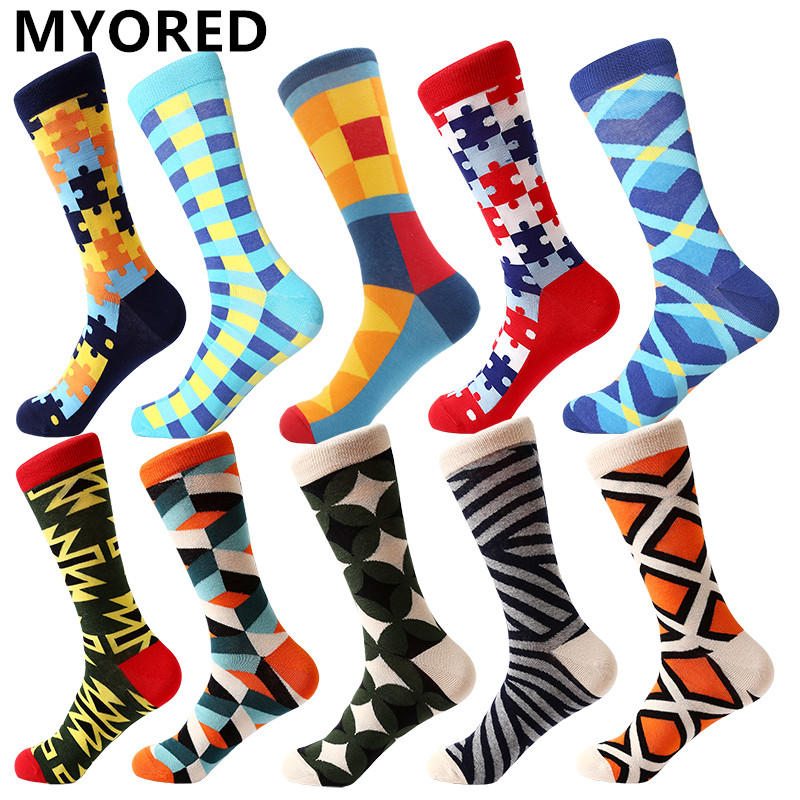 Image 2 - MYORED drop shipping colorful fashion mens socks combed cotton funny crew socks for men Calcetines de hombre-in Men's Socks from Underwear & Sleepwears