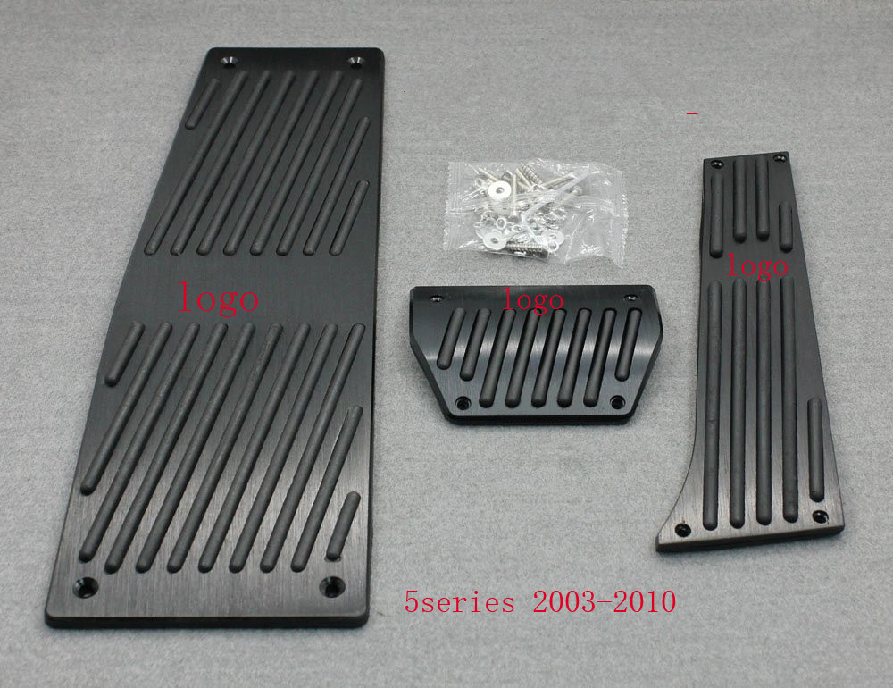 цена на XYIVYG Color Black 3Pcs AT Brake Foot Rest Pedals Plate for BMW 5 Series 2003-2010 E60 E61 With Logo