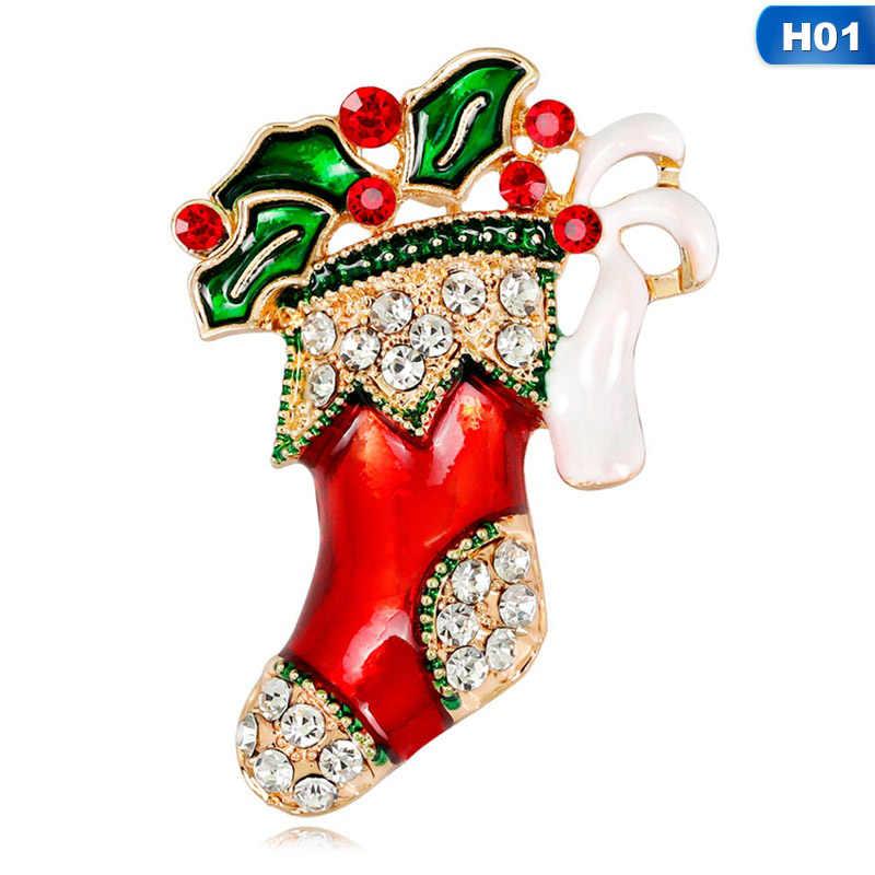 2018 Baru Fashion Natal Hadiah Perhiasan Alloy Bell Bros Merah Berlian Imitasi Pin Bros untuk Wanita Hadiah Natal Aksesoris
