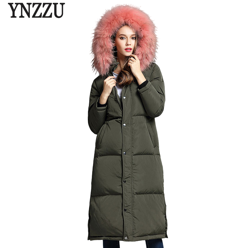 Korean Style Women Winter Down Jacket 2017 New Chic Army Green Extra Long with Large real fur Collar Hooded Warm Outwears AO214