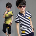 2016 New Fashion Summer Children's Clothing Set Short Sleeve Cotton Striped Boys Casual Sport Suit T-shirt+pants 2 Pieces sets