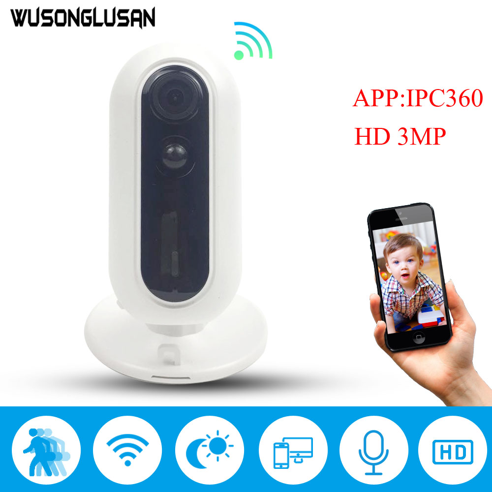 Home Security Wifi IP Camera 180 Degree View Angle PIR Motion Detector Alarm SD card Two