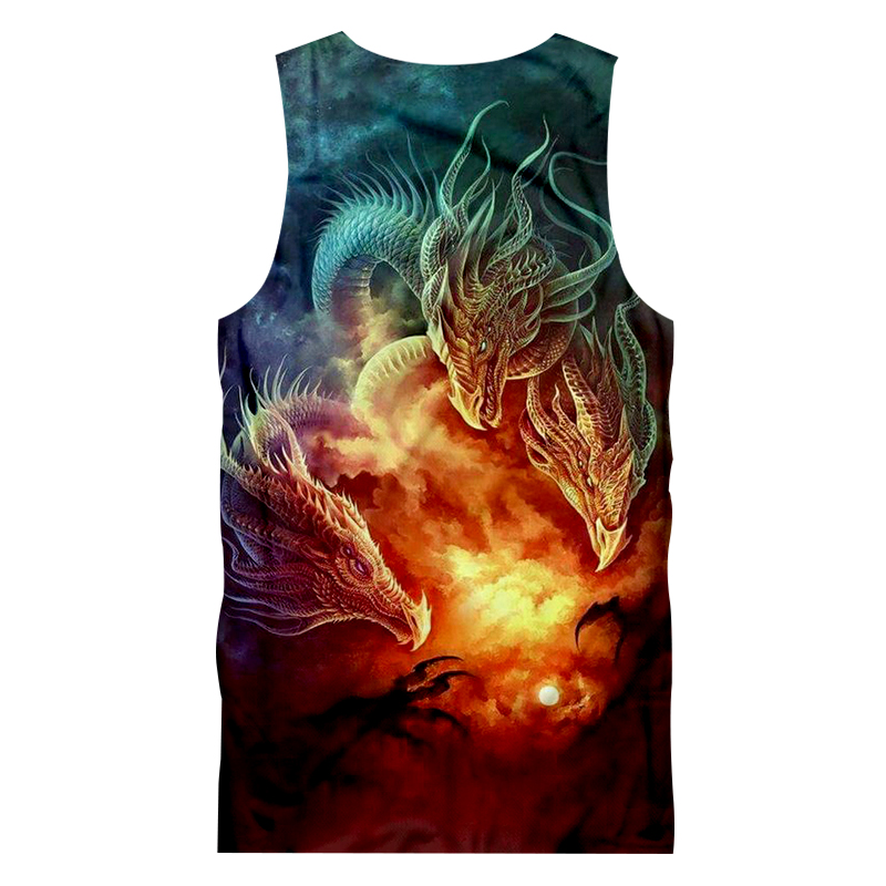 UJWI New Arrival Men 39 s Tanks Cool Print Dragon 3d Tank Top Man Bodybuilding Fitness Sleeveless Shirt Undershirts Vest Plus Size in Tank Tops from Men 39 s Clothing