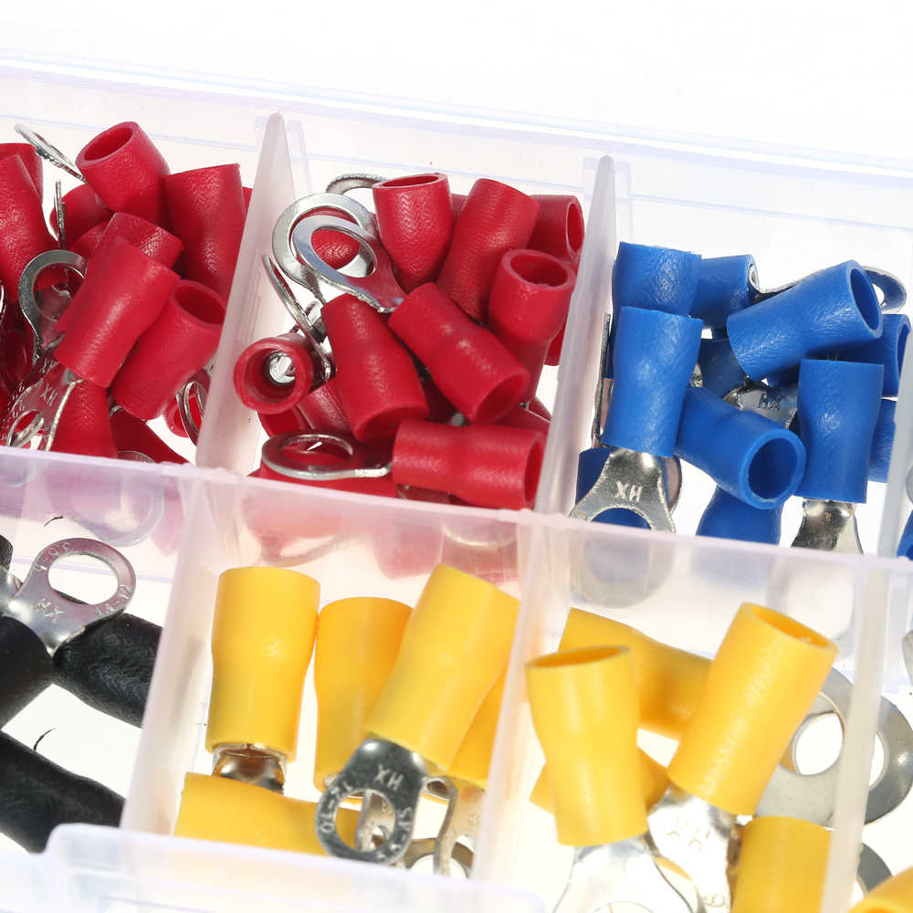 102PCS Assorted Insulated Terminals 10 Kinds Copper Crimp Electrical Wire Cable Connector Kit Cord Ring End Set