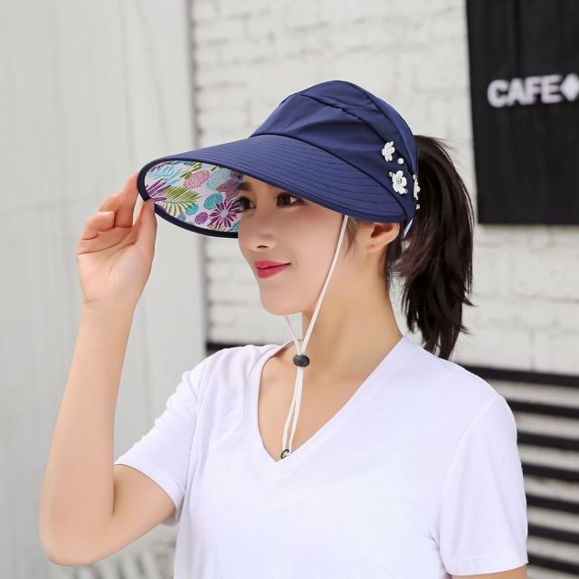 fe8cacefe51 1pcs women summer Sun Hats pearl packable sun visor hat with big heads wide  brim beach hat UV protection female outdoor cap