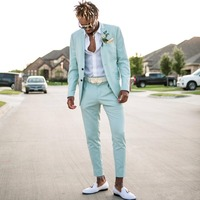 Mint Green Mens Business Suits Wedding Tuxedos For Men Notched Lapel Formal Prom Suit (Jacket+Pants) W:765