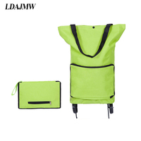 LDAJMW Portable Travel Storage Bag Folding Trolley Bag With Wheels Supermarket Handbag For Shopping