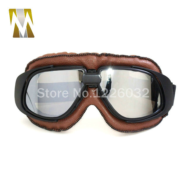 5 Colors Leather Frame Moto Goggles Motorcycle motorcycle glasses Riding Racing Bike Driving Goggle Motocross Glasses