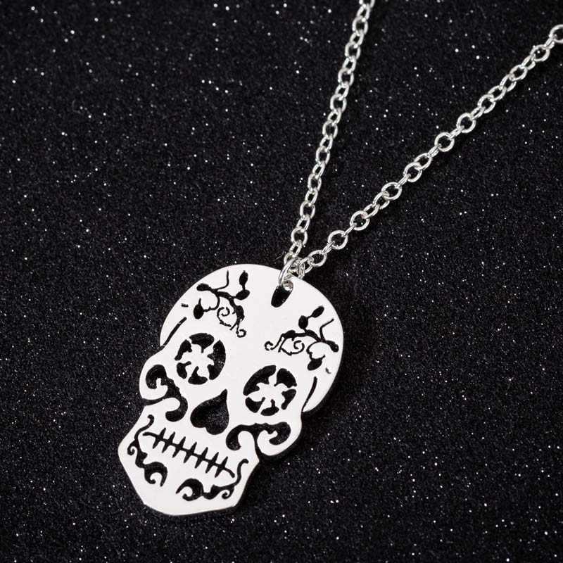 Yiustar Collares kobiety mężczyźni Punk czaszka naszyjnik dziewczyny wisiorki ze stali nierdzewnej naszyjniki dzień zmarłych biżuteria meksykańskie collier