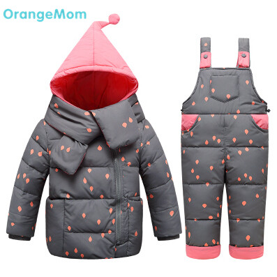 0 degree russia autumn - winter kids clothes sets Creative scarf style coats + overalls clothing for boys girls costumes