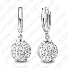 JEXXI Hot Sale Multi Colors 1 Pair Real Pure 925 Sterling Silver Austrian Pave Disco Ball