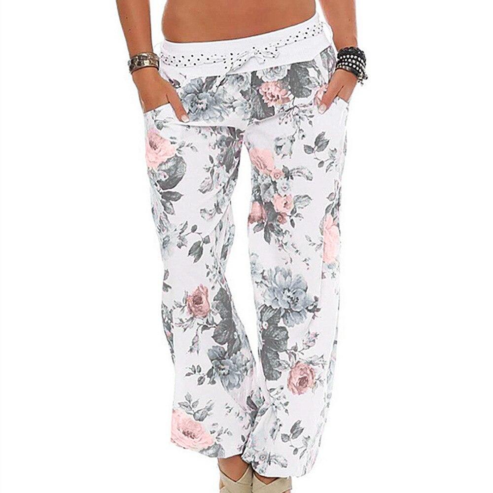 Womens Ladies Floral Trousers Long   Pants   Baggy Leggings Plus Size 2018 New Arrival Fasion Summer   wide     leg     pants   female plus size
