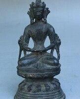 "7 ""Rare Velho Tibete Budismo Bronze Sit GuanYin Kwan Yin Deusa Tara Branca Estátua|statues goddess|statue tara|statue bronze -"