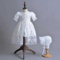 Newborn Baby Christening Gown White Lace Baptism Dress with Bonnet Hat Embroidery Baby Girl Birthday Dresses A015 Vestidos Robe