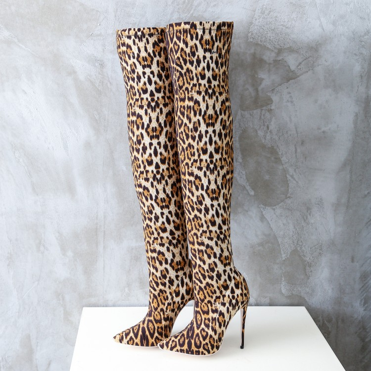 Hot Leopard Stretch Leather Women Over The Knee Boots 2018 Fashion Ladies High Heel Boots Pointy Toe Slip On Thigh Boots Size 42