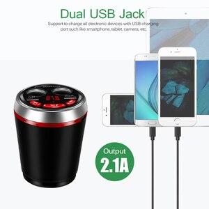 Image 3 - Dual USB Car Charger Cup Sigarettenaansteker Lading HUB 12 24V met Bluetooth Fm zender Ondersteuning U schijf Lezen