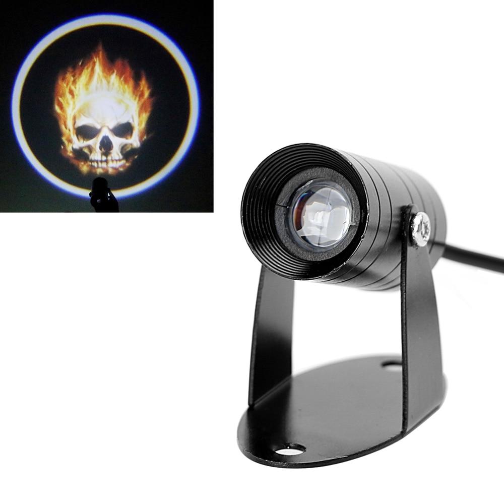 LEEPEE Ghost Rider Flaming Skull Tail Lighting Logo Laser Projector Motorcycle Spotlight Fog Lamp 3D LED Logo Light