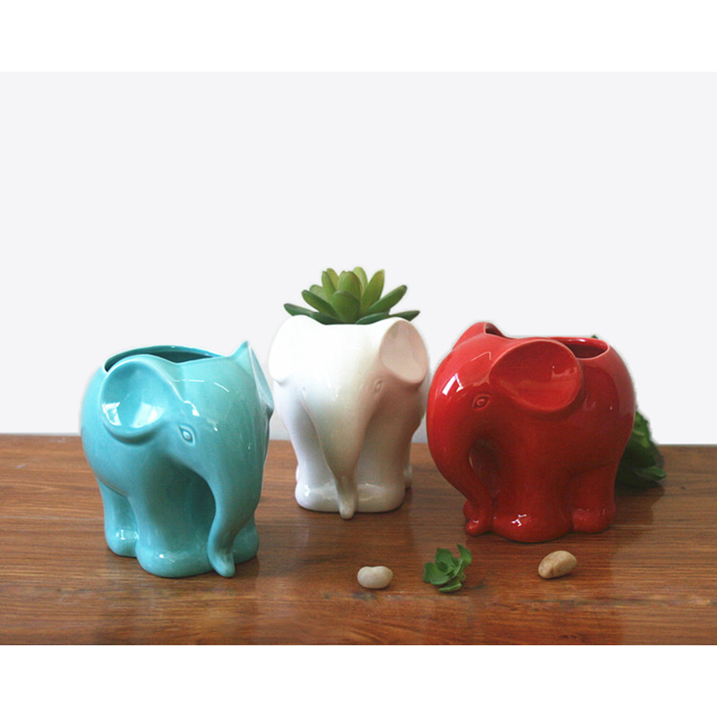1pc Minimalist Elephant White Ceramic Planter For